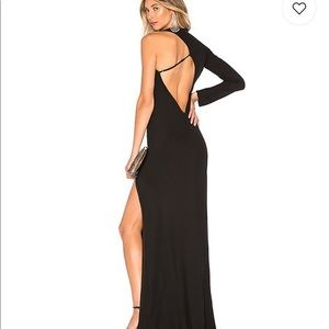 MICHELLE MASON Asymmetric Cutout Gown Dress